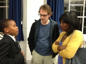 Parents chatting to a pupil at the first Meet the Parents involving Holloway school: Sept 24th at Yerbury primary, Tufnell Park, London.